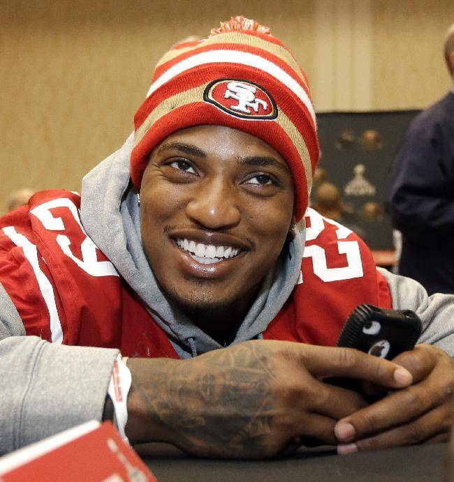 File-This jan. 30, 2013 file photo shows San Francisco 49ers cornerback Chris Culliver talking with teammates during a media availability in New Orleans. Every player is warned not to say anything on media day that will get them in trouble. Culliver failed to heed that advice during a one-on-one interview with Artie Lange