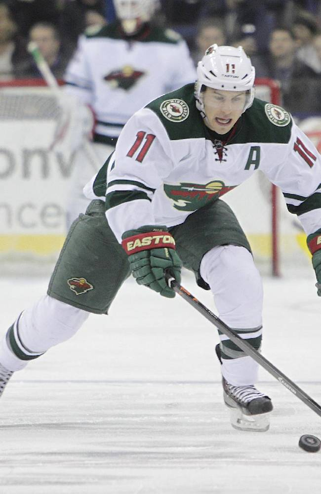 Minnesota Wild's Zach Parise plays against the Columbus Blue Jackets during an NHL hockey game Friday, Dec. 6, 2013, in Columbus, Ohio