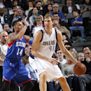 DALLAS, TX - NOVEMBER 13: Dirk Nowitzki #41 of the Dallas Mavericks posts up against the Philadelphia 76ers on November 13, 2014 at the American Airlines Center in Dallas, Texas. (Photo by Glenn James/NBAE via Getty Images)