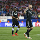Chelsea's Gary Cahill reacts after the Champions League semifinal first leg soccer match between Atletico Madrid and Chelsea at the Vicente Calderon stadium in Madrid, Spain, Tuesday, April 22, 2014. The match ended in a 0-0 draw