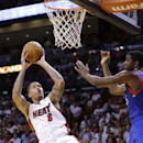 Miami Heat forward Michael Beasley (8) goes up to shoot against Philadelphia 76ers center Henry Sims during the first half of an NBA basketball game on Wednesday, April 16, 2014, in Miami The Associated Press