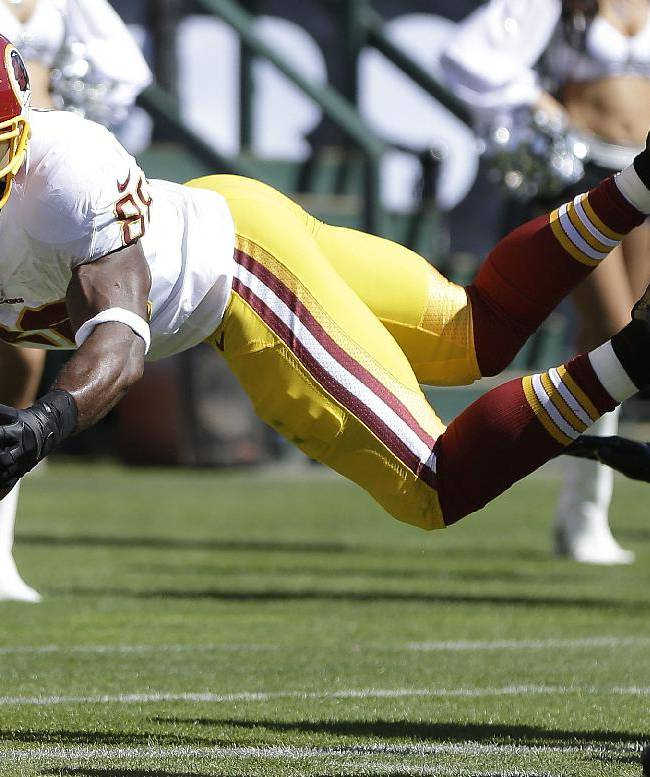 Washington Redskins wide receiver Pierre Garcon (88) dives for the goal line, but goes out of bounds during the second quarter of an NFL football game against the Oakland Raiders in Oakland, Calif., Sunday, Sept. 29, 2013