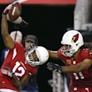 Arizona Cardinals' Andre Roberts (12) celebrates his long pass reception against the Indianapolis Colts with teammate Larry Fitzgerald, right, during the second half of an NFL football game Sunday, Nov. 24, 2013, in Glendale, Ariz. The Cardinals defeated