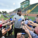 Lions running back Joique Bell addresses the media before the rest of the team arrives for NFL football training camp at Wayne State University in Detroit , Wednesday, July 30, 2014 The Associated Press