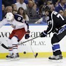 Columbus Blue Jackets right wing Corey Tropp (26) knocks the puck away from Tampa Bay Lightning defenseman Victor Hedman, of Sweden, during the first period of an NHL hockey game Saturday, Dec. 6, 2014, in Tampa, Fla The Associated Press