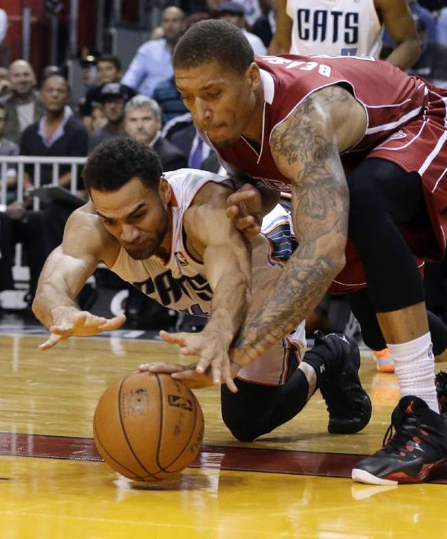 Charlotte Bobcats' Jeff Taylor, left, and Miami Heat's Michael Beasley, right, go for a loose ball during the second half of an NBA basketball game Sunday, Dec. 1, 2013, in Miami. The Heat won 99-98