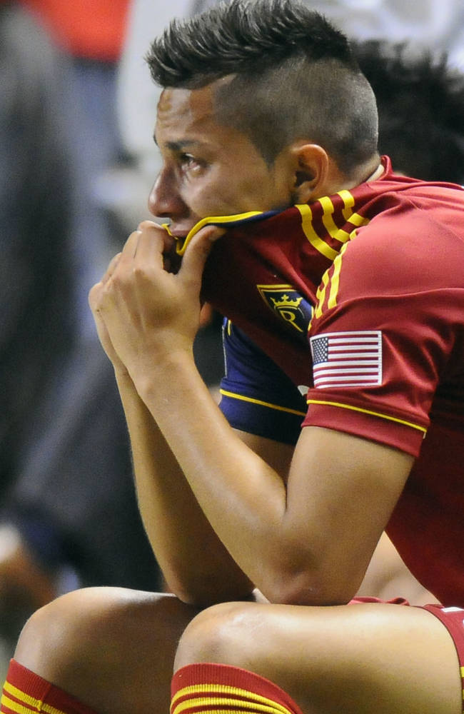 Real Salt Lake's Casey Townsend reacts to the team's 1-0 loss to D.C. United in the U.S. Open Cup of Soccer final, Tuesday, Oct. 1, 2013, in Sandy, Utah