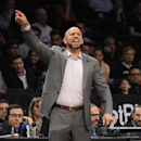 Brooklyn Nets head coach Jason Kidd directs his team against the Detroit Pistons in the first half of an NBA basketball game on Friday, April 4, 2014, in New York. The Nets won 116-104 The Associated Press
