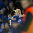 Everton's Steven Naismith, right, celebrates with teammate Leighton Baines after scoring during the English Premier League soccer match between Everton and Queens Park Rangers at Goodison Park Stadium, Liverpool, England, Monday Dec. 15, 2014