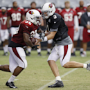 Arizona Cardinals' Carson Palmer (3) hands the ball off to Stepfan Taylor (30) during NFL football training camp practice on Wednesday, July 30, 2014, in Glendale, Ariz The Associated Press
