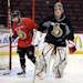 Ottawa Senators goaltender Craig Anderson, right, and teammate Cory Conacher take part in practice in Ottawa, Ontario, Saturday, May 18, 2013, on the eve of Game 3 of the NHL hockey Stanley Cup playoff series against the Pittsburgh Penguins