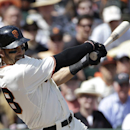 San Francisco Giants' Michael Morse follows through a two-run single off of Arizona Diamondbacks pitcher Trevor Cahill during the third inning of a baseball game in San Francisco, Tuesday, April 8, 2014 The Associated Press