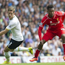 Tottenham Hotspur's Jan Vertonghen, left, vies for the ball with Liverpool's Daniel Sturridge, during their English Premier League soccer match at White Hart Lane, London, Sunday, Aug. 31, 2014