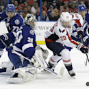 Washington Capitals right wing Troy Brouwer (20) tries to control the puck around Tampa Bay Lightning goalie Ben Bishop (30), defenseman Victor Hedman (77) and defenseman Anton Stralman (6), of Sweden, during the first period of an NHL hockey game Tuesday