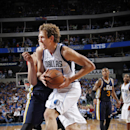 DALLAS, TX - OCTOBER 30: Dirk Nowitzki #41 of the Dallas Mavericks drives against the Utah Jazz on October 30, 2014 at the American Airlines Center in Dallas, Texas. (Photo by Glenn James/NBAE via Getty Images)