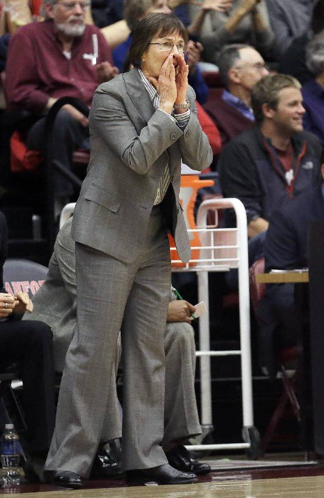 Stanford head coach Tara VanDerveer yells from the sideline during the first half of an NCAA women's college basketball game in Stanford, Calif., Monday, Dec. 16, 2013. Stanford won 75-41