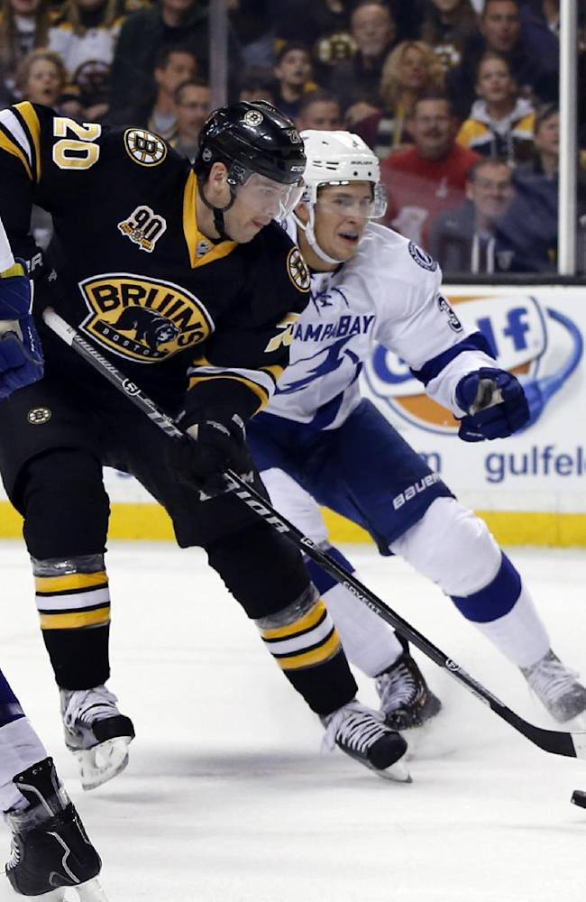 Boston Bruins left wing Daniel Paille (20) shoots and scores after getting by defenseman Keith Aulie, right, during the second period of an NHL hockey game in Boston Monday, Nov. 11, 2013. The Bruins won 3-0