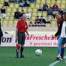 Princess Caroline of Hanover's daughter, Charlotte Casiraghi, kicks the ball at the start of a charity soccer match,  between Star Team for the Children and Formula One Drivers Team, as her brother Princess Caroline of Hanover's son Andrea Casiraghi, left, watches, at the Louis ll stadium, in Monaco, Tuesday, May 21, 2013. The match was set up to raise funds for the