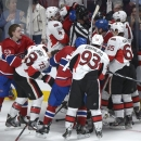 Montreal Canadiens and Ottawa Senators brawl at the end of NHL hockey Stanley Cup Game 2 first-round playoff action in Montre