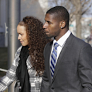 New England Patriots cornerback Alfonzo Dennard and his unnamed girlfriend arrive to the Lancaster County Courthouse in Lincoln, Neb., Friday, Dec. 6, 2013. A drunken-driving charge in Nebraska against Dennard has been dismissed, and he pled no contest to