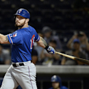 Texas Rangers' Josh Hamilton bats in the seventh inning against the Nashville Sounds on Monday, May 11, 2015, in Nashville, Tenn. Hamilton is playing for the Round Rock Express AAA minor league baseball team before rejoining the Rangers after a rehab stint. (AP Photo/Mark Zaleski)