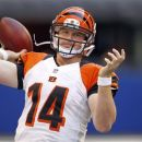 Cincinnati Bengals quarterback Andy Dalton throws during warm ups before an NFL preseason football game against the Indianapolis Colts in Indianapolis, Thursday, Aug. 30, 2012. (AP Photo/John Sommers II)