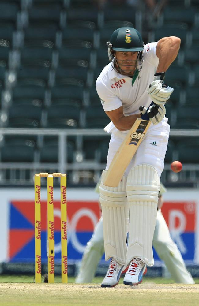 South Africa's batsman Francois du Plessis plays a side shot during the fourth and final day of their cricket test match against India at Wanderers stadium in Johannesburg, South Africa, Sunday, Dec. 22, 2013