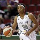 In this photo taken Friday, May 17, 2013, Seattle Storm's Tanisha Wright dribbles against the Tulsa Shock during a preseason WNBA basketball game in Seattle. Because of injuries and national team commitments, the Seattle Storm became used to Lauren Jackson being absent at times for the last few seasons. But even when Jackson was gone, Sue Bird was almost always there. That won't be the case in 2013 with both Bird and Jackson sidelined for the season recovering surgeries that leave the Storm with major questions. (AP Photo/Elaine Thompson)