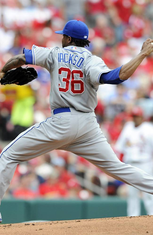 Chicago Cubs' starting pitcher Edwin Jackson throws against the St. Louis Cardinals in the first inning of a baseball game, Sunday, April 13, 2014, in St. Louis
