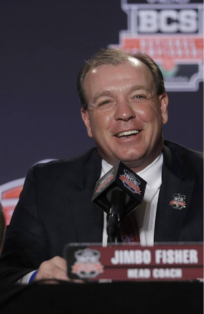 Florida State head coach Jimbo Fisher answers a question during a news conference for the NCAA BCS National Championship college football game Sunday, Jan. 5, 2014, in Newport Beach, Calif. Florida State plays Auburn on Monday, Jan. 6, 2014
