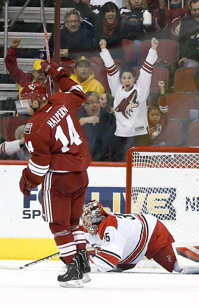 Phoenix Coyotes' Jeff Halpern (14) celebrates a goal by teammate Paul Bissonnette against Carolina Hurricanes' Justin Peters (35) during the first period of an NHL hockey game, Saturday, Dec. 14, 2013, in Glendale, Ariz