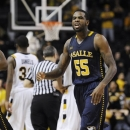 La Salle guard Ramon Galloway (55) reacts after La Salle defeated Virginia Commonwealth 69-61 during an NCAA college basketball game Saturday, Jan. 26, 2013, in Richmond, Va. (AP Photo/Clement Britt)