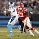 Carolina Panthers' Cam Newton, left, is sacked by Kansas City Chiefs' Josh Mauga, right, during the first half of an NFL preseason football game in Charlotte, N.C., Sunday, Aug. 17, 2014 The Associated Press