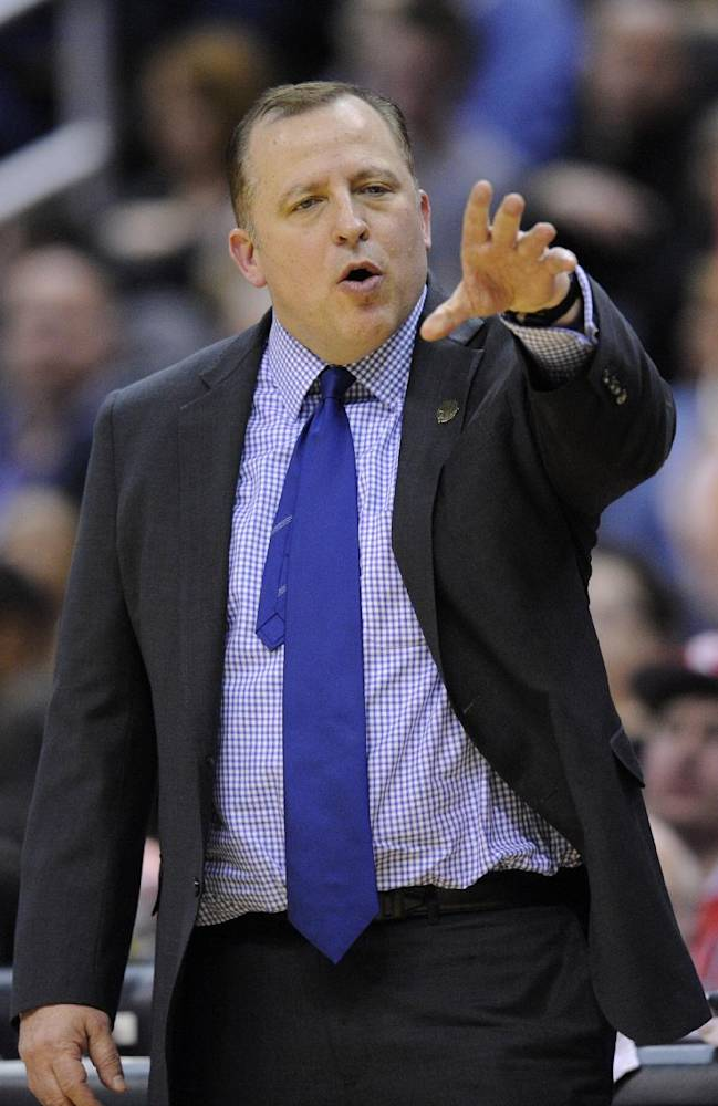 Chicago Bulls coach Tom Thibodeau gestures during the second half of the Bulls' NBA basketball game against the Washington Wizards, Saturday, April 5, 2014, in Washington. The Bulls won 96-78