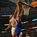 CHICAGO, IL - FEBRUARY 28: Joakim Noah #13 of the Chicago Bulls blocks a shot by Spencer Hawes #00 of the Phildelphia 76ers at the United Center on February 28, 2013 in Chicago, Illinois. (Photo by Jonathan Daniel/Getty Images)