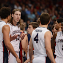 March 11, 2013; Las Vegas, NV, USA; Gonzaga Bulldogs forward Kelly Olynyk (13) reacts in a huddle against the Saint Mary's Gaels during the second half in the finals of the West Coast Conference tournament at Orleans Arena. (Kyle Terada-USA TODAY Sports)