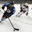 Colorado Avalanche center Maxime Talbot (25) skates against Phoenix Coyotes defenseman Keith Yandle (3) during the third period of an NHL hockey game on Friday, Feb. 28, 2014, in Denver The Associated Press