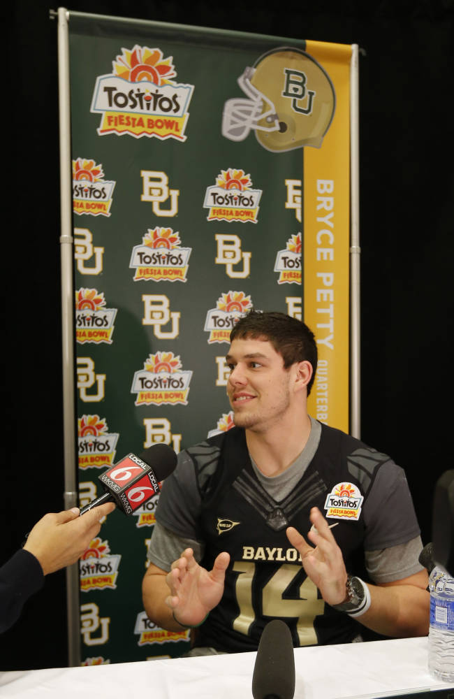 Baylor quarterback Bryce Petty speaks to the media during the Fiesta Bowl media Day, Monday, Dec. 30, 2013, in Scottsdale, Ariz. Baylor will face Central Florida on Jan. 1, 2014 in the Fiesta Bowl NCAA college football game