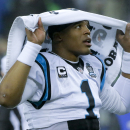 Carolina Panthers quarterback Cam Newton holds a towel over his head before an NFL divisional playoff football game against the Seattle Seahawks in Seattle, Saturday, Jan. 10, 2015 The Associated Press