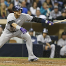 Colorado Rockies' Troy Tulowitzki is off balance as he slaps a ground ball out while batting against the San Diego Padres in the eighth inning of a baseball game Wednesday, April 16, 2014, in San Diego The Associated Press