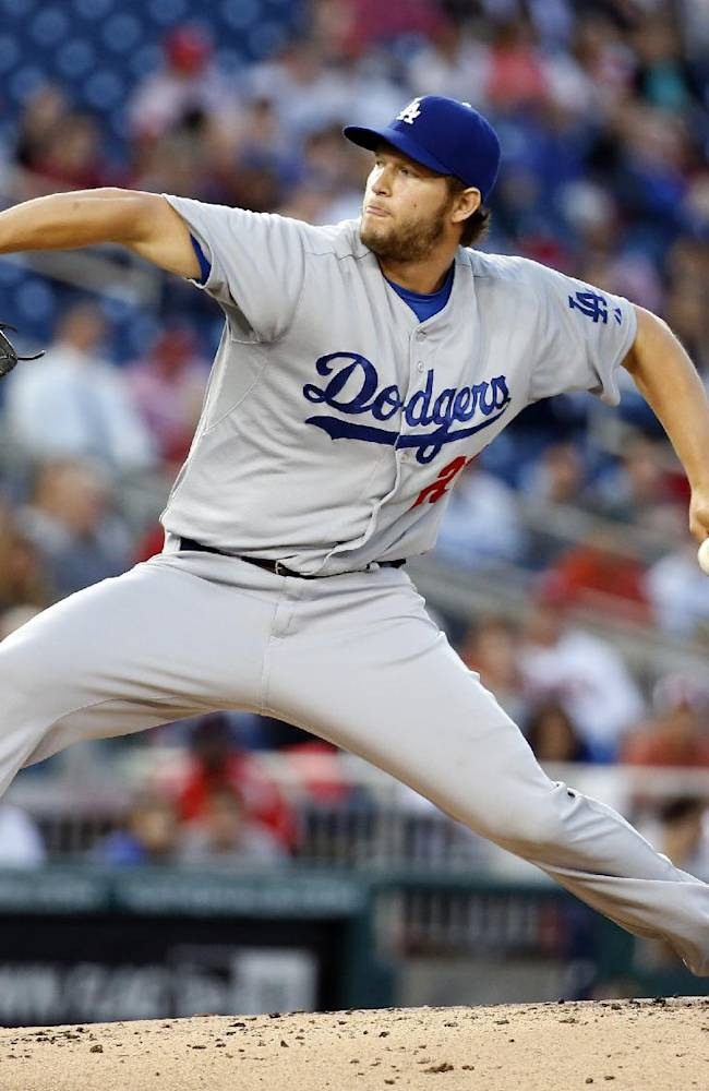 Los Angeles Dodgers pitcher Clayton Kershaw (22) throws during the third inning of a baseball game against the Washington Nationals at Nationals Park, Tuesday, May 6, 2014, in Washington