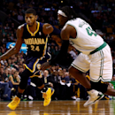 BOSTON, MA - NOVEMBER 22: Paul George #24 of the Indiana Pacers drives to the basket against Gerald Wallace #45 of the Boston Celtics during a game at the TD Garden on November 22, 2013 in Boston, Massachusetts. (Photo by Alex Trautwig/Getty Images)