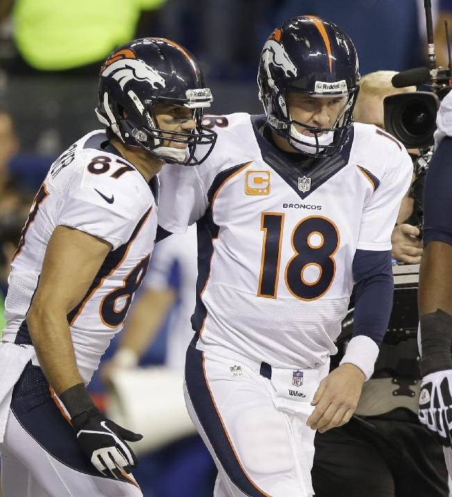 Denver Broncos wide receiver Eric Decker (87) and quarterback Peyton Manning (18) celebrate after a touchdown during the first half of an NFL football game against the Indianapolis Colts, Sunday, Oct. 20, 2013, in Indianapolis