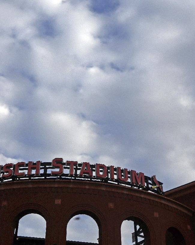 Busch Stadium is seen as clouds roll in before Game 6 of the National League baseball championship series between the St. Louis Cardinals and the Los Angeles Dodgers, Friday, Oct. 18, 2013, in St. Louis