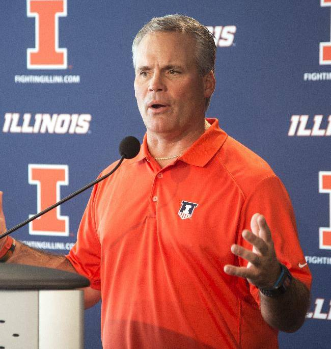 Illinois football coach Tim Beckman talks about his team and the upcoming season,, at Memorial Stadium in Champaign, Ill., on Monday, Aug. 25, 2014