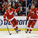Detroit Red Wings left wing Henrik Zetterberg (40), left, celebrates after scoring a goal with center Pavel Datsyuk (13) against the Nashville Predators during the second period of an NHL hockey game in Detroit, Saturday, Jan. 17, 2015 The Associated Pres