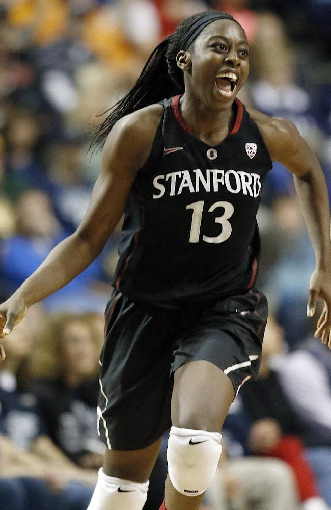 In this April 6, 2014 file photo, Stanford forward Chiney Ogwumike celebrates a basket against Connecticut during the second half of the semifinal game in the Final Four of the NCAA women's college basketball tournament Nashville, Tenn. The Connecticut Sun chose Ogwumike as the first pick in the 2014 WNBA draft. The Sun will host the New York Liberty to open their season Friday, May 16, 2014 in Uncasville, Conn