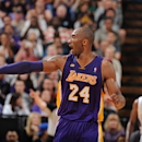 SACRAMENTO, CA - MARCH 30: Kobe Bryant #24 of the Los Angeles Lakers calls out the play during a break in action against the Sacramento Kings on March 30, 2013 at Sleep Train Arena in Sacramento, California. (Photo by Garrett Ellwood/NBAE via Getty Images)