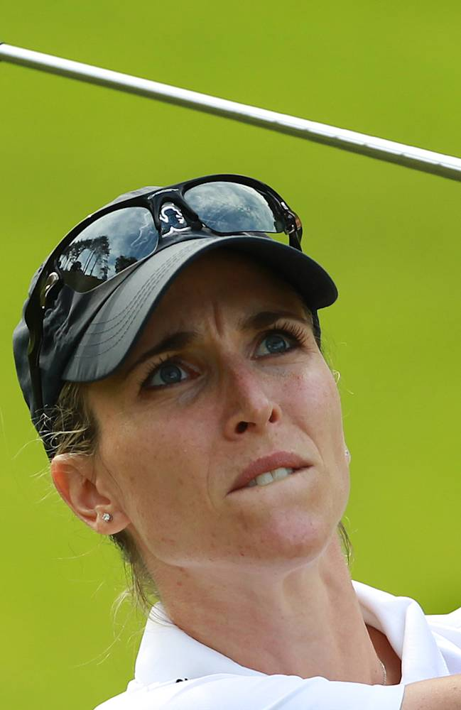 Diana Luna of Italy plays a shot on the 2nd hole during the first round of the women's Lacoste Open in Saint Jean de Luz, southwestern France, Thursday, Sept. 26, 2013