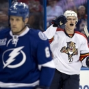 Florida Panthers center Nick Bjugstad, right, celebrates his goal against the Tampa Bay Lightning during the first period of